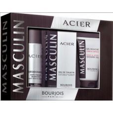 Комплект за мъже Bourjois MASCULIN ACIER EDT 100 мл. + део 200 мл. + душ гел 150 мл.