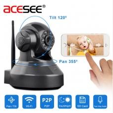 Безжична моторизирана HD WiFi камера AceSee модел WPAS100 720 P за видеонаблюдение CCTV, с TF микро SD слот за карта памет и цифров зум