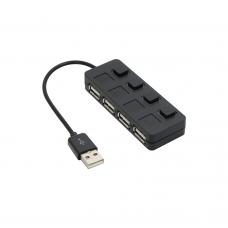 USB хъб No Brand, USB 2.0, 4 Порта, Черен - 12056