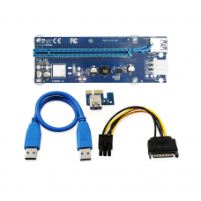 Удължител No Brand Riser Card VER006C, PCI-E 1X to 16X + USB 3.0 Кабел, Син - 17049