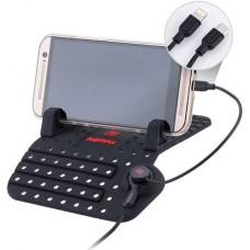Стойка за мобилно устройство с кабел Lightning+micro USB Remax RC-FC1, за кола, универсална, черна - 17255