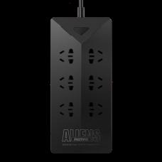 Разклонител шуко с 6 гнезда и 5 USB изхода, 4.2А, 1,8м кабел, Remax Aliens RU-S4, Черен, Бял - 14407