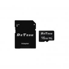 Карта памет DeTech Micro SDHC-I, 16GB, Class 10 + Адаптер - 62043